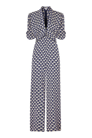 Sable jumpsuit in navy fan print crepe