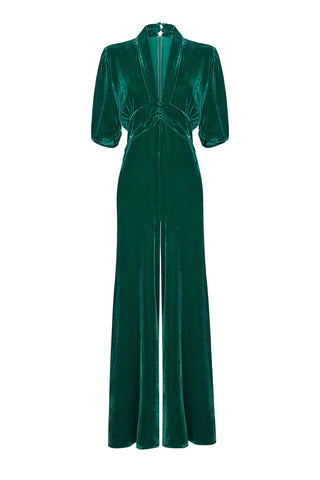 Sable jumpsuit in peacock silk velvet - mannequin front