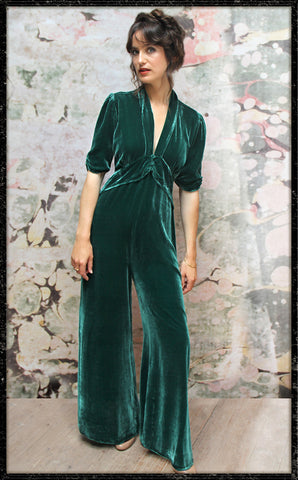Sable jumpsuit in peacock silk velvet - model front
