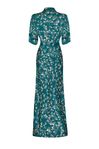 Sable longline dress in teal mountain-pine crepe