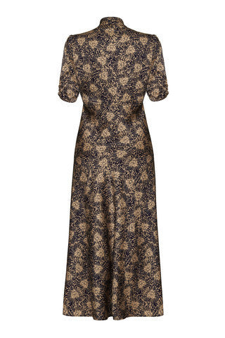 Sable Maxi Dress in Firework Flower Print Crepe