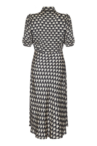 Silk midi dress in jet black fan print - mannequin back