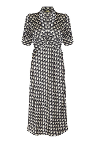 Silk midi dress in jet black fan print - mannequin front