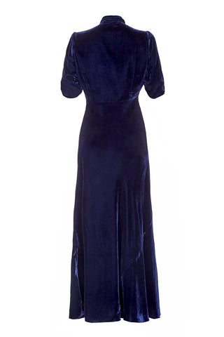 Nancy Mac maxi dress in midnight blue velvet - 1940s vintage style versatile Winter frock - mannequin back