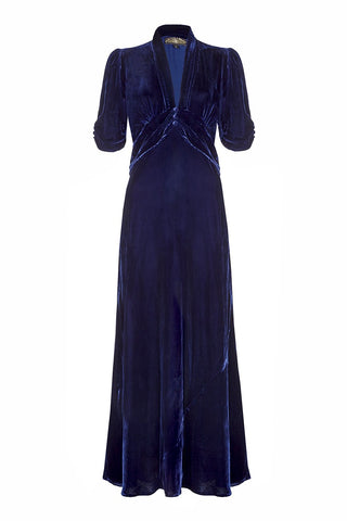 Nancy Mac maxi dress in midnight blue velvet - 1940s vintage style versatile Winter frock - mannequin front