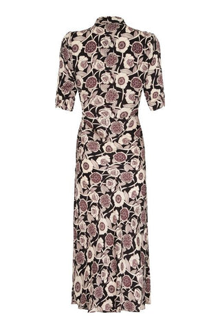 Sable midi dress in Aubrey print - back cutout
