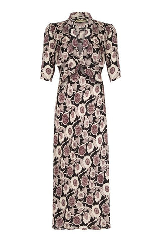Sable midi dress in Aubrey print - front cutout