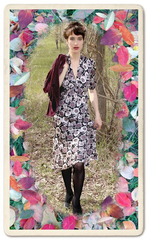 Sable midi dress in Aubrey print - location shot