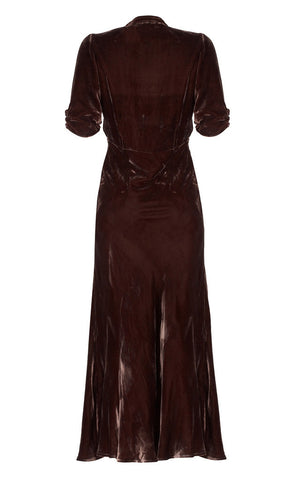 Sable midi dress in chocolate velvet