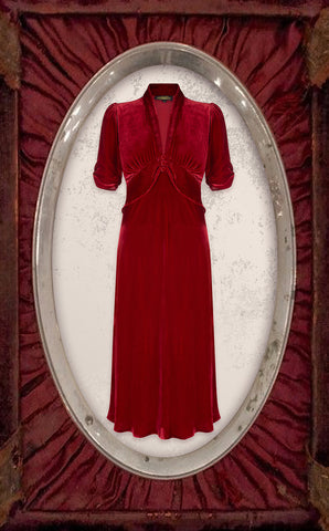 Sable midi dress in deep red silk velvet - cutout