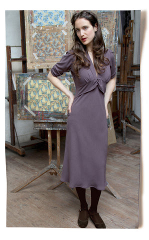 Sable midi dress in stone crepe - location shot