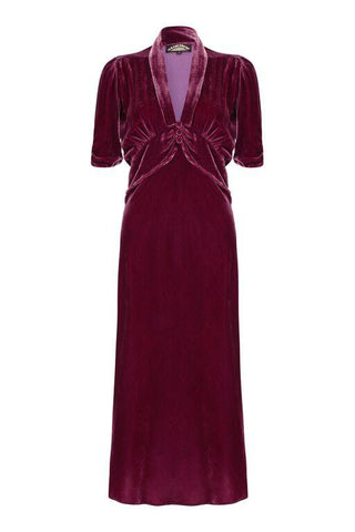 Sable midi dress in rosewood silk velvet