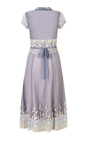 Selma dress in Periwinkle embroidered lace