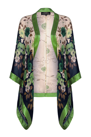 Shrug in green Fleur print silk georgette