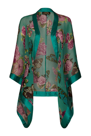Shrug in aqua butterfly print silk georgette
