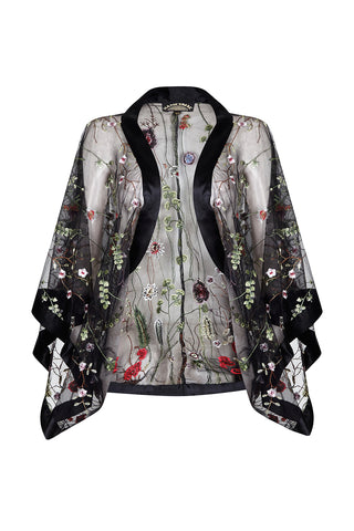 Shrug in black meadow-flower embroidered lace - front mannequin