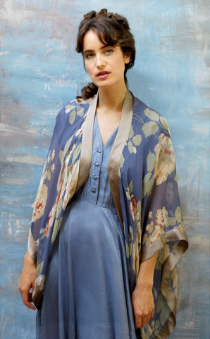 Bohemian pure silk shrug in romantic Forties inspired rose print