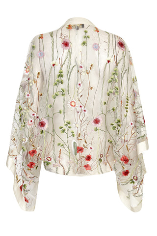Nancy Mac shrug in meadow flower embroidered lace - mannequin back