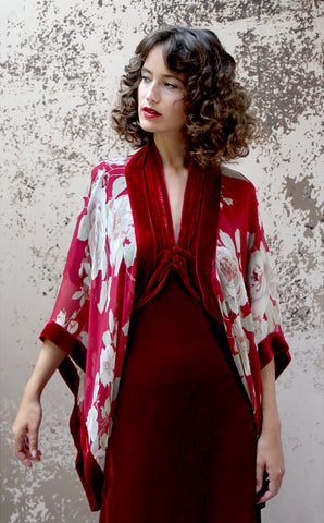 Shrug in red rosegarden print silk georgette - model shot