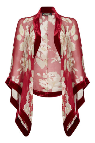 Shrug in red rosegarden print silk georgette