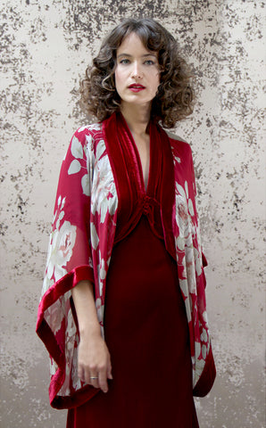 Shrug in red rosegarden print silk georgette - alternate model shot