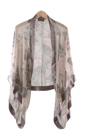 Shrug in taupe butterfly silk georgette