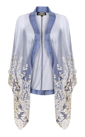 Embroidered ivory and periwinkle blue lace shrug with hand finishing