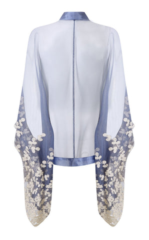 Shrug in Periwinkle embroidered lace