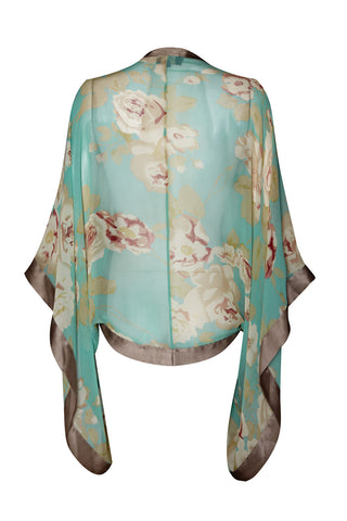 Shrug in aqua rose garden silk georgette