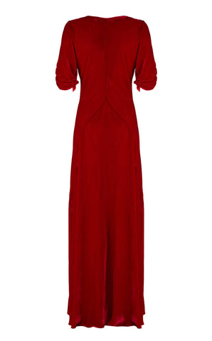 Sibi maxi dress in deep red velvet - back cutout