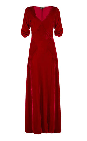 Sibi maxi dress in deep red velvet - front cutout