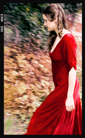 Sibi maxi dress in deep red velvet - location shot