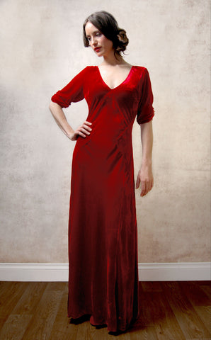 Sibi maxi dress in deep red velvet - studio shot