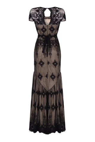 Sirene dress in black embroidered lace