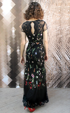 Sirene dress in black meadow-flower embroidered lace - alternate model shot