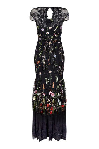 Sirene dress in black meadow-flower embroidered lace - back mannequin