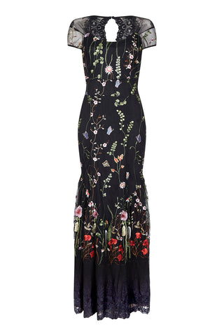 Sirene dress in black meadow-flower embroidered lace - front mannequin