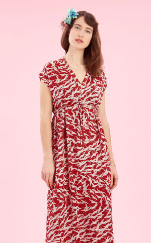 Ida maxi dress in ruby stork crepe - cropped studio shot