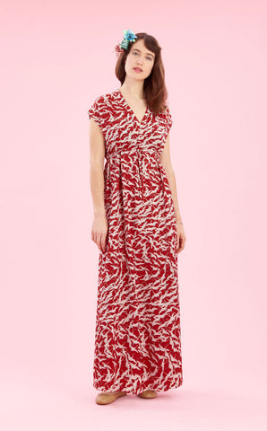 Ida maxi dress in ruby stork crepe - full length studio shot