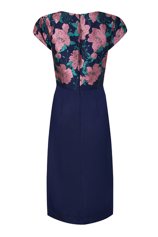 Susannah sash dress in rose room brocade