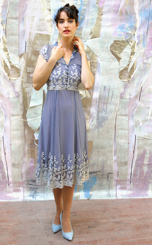 Nancy Mac's Selma Forties style lace tea dress in Periwinkle blue and ivory