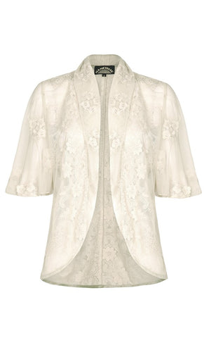 Madeline tea jacket in ivory embroidered lace