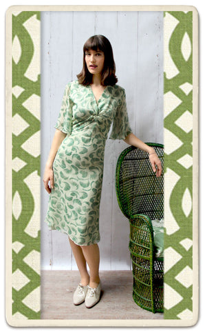 Trudi dress in green shell - studio shot