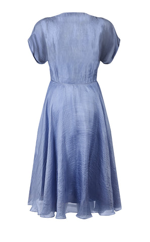 Valeria dress in periwinkle blue silk organza