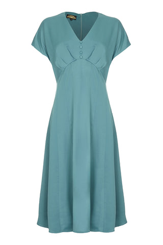 Valeria dress in Tiffany blue crepe - mannequin front