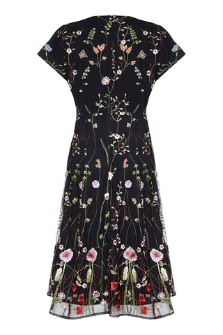 Valeria dress in black meadow-flower embroidered lace - back mannequin