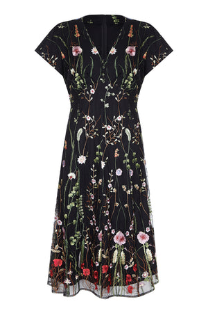 Valeria dress in black meadow-flower embroidered lace - front mannequin