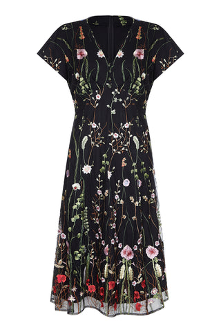 Valeria dress in black meadow-flower lace