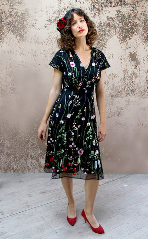 Valeria dress in black meadow-flower embroidered lace - model shot
