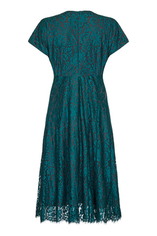 Valeria dress In emerald flower lace - back mannequin shot